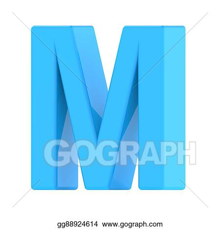 Stock Illustration Light Blue Letter M Clipart Drawing Gg88924614