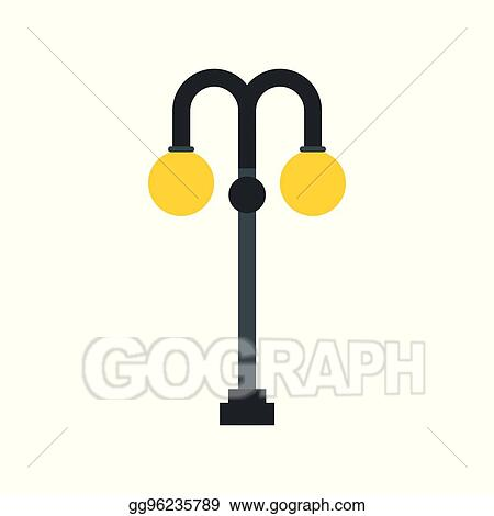 Vector Stock Light Pole Icon In Flat Style Clipart Illustration