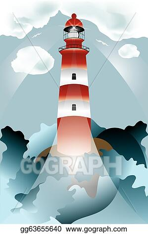 Vector Stock - Lighthouse lights on over the unsteady sea  Stock