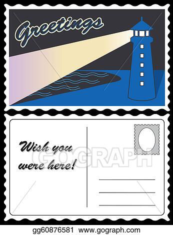 Vector Illustration Lighthouse Ocean Travel Postcard Eps