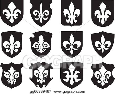 Vector Art Lily Flower And Medieval Shields Clipart Drawing