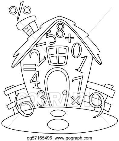 Stock Illustration Line Art Math House Clipart Gg57165496 Gograph
