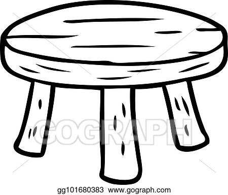 Line Drawing Of A Small Wooden Stool