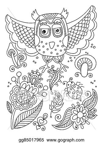 Vector Art Line Drawing Of Forest Elements Owl Flowers