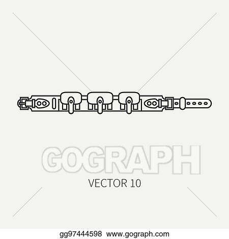 Vector Clipart Line Flat Vector Hunt And Camping Icon Cartridge Belt Hunter Equipment Armament Retro Cartoon Style Wildlife Travel Camouflage Forest Nature Illustration And Element For Your Design Wallpaper Vector Illustration