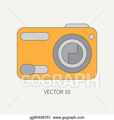 Vector Stock Line Flat Vector Icon With Digital Mini Camera Photography And Art Megapixel Photocamera Cartoon Style Illustration And Element For Your Design Photographic Lens Simple Color Creativity Shoot Clipart Illustration