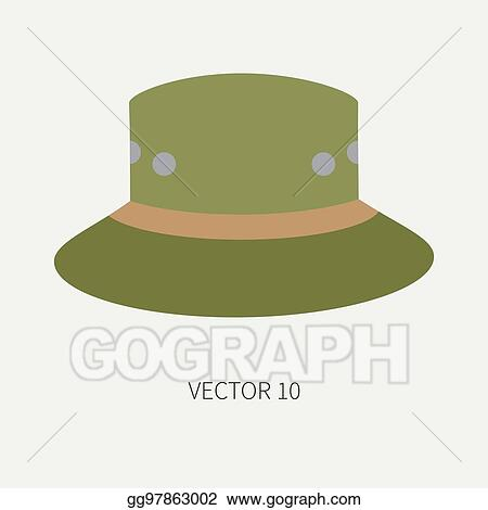 0e09365256c Vector Stock - Line tile color vector hunt and camping icon hat