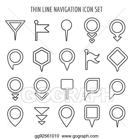 vector stock linear map pin mini icons flags and pins signs