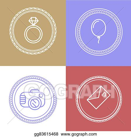 Drawings linear wedding logos and icons outline design for linear wedding logos and icons outline design for invitations and greeting cards and other m4hsunfo