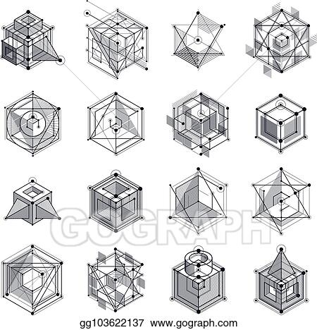 Vector Art Lines And Shapes Abstract Vector Isometric 3d