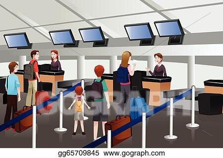 Lining Up At The Check In Counter Airport