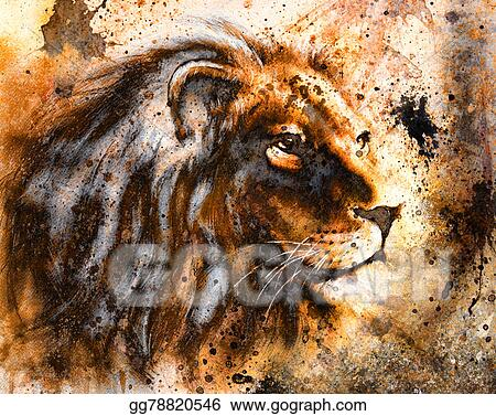 Lion Collage On Color Abstract Background Rust Structure Wildlife Animals