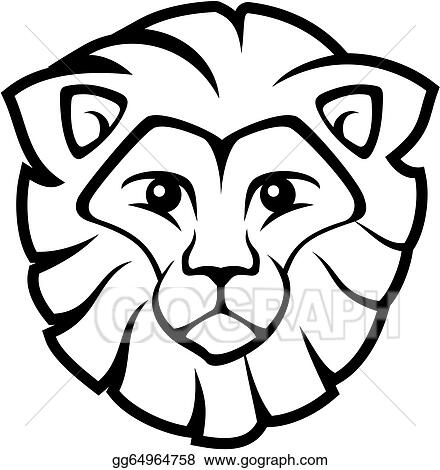 Vector Illustration Lion Face Vector Stock Clip Art Gg64964758