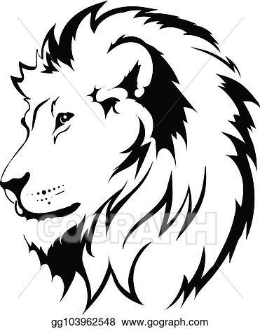 Vector Illustration , Lion head tattoo. Stock Clip Art
