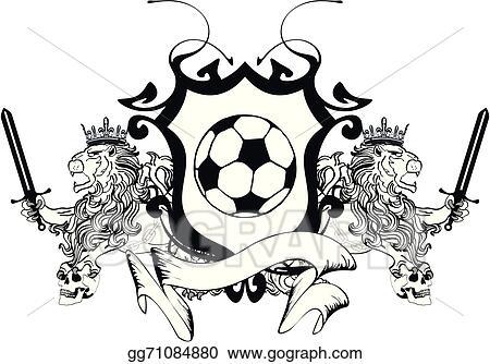 Line Art Lion : Vector art lion heraldic coat of arms soccer clipart drawing