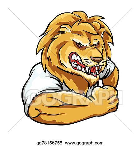 Vector Illustration - Lion mascot, team label design  Stock Clip Art