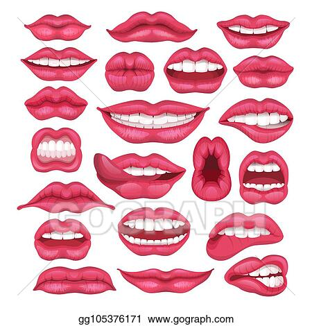 Vector Art Lip Vector Cartoon Beautiful Red Lips In Kiss Or Smile And Fashion Lipstick And Sexy Mouth Kissing Lovely On Valentines Day Set Illustration Isolated On White Background Clipart Drawing