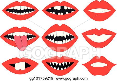 Vector Art - Lips, mouth with teeth, vector set  photo booth