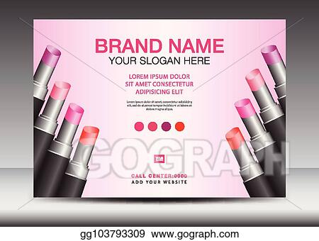 Vector Art Lipstick Ads Cosmetics Banner Design Template Vector Illustration Lipstick Mask Bottle Isolated Flyer Product Design Advertisement Layout Poster Card Web Page Beauty Magazine Ads Cover Billboard Clipart Drawing Gg103793309