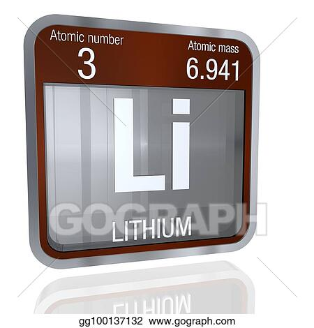 Stock illustration lithium symbol in square shape with metallic lithium symbol in square shape with metallic border and transparent background with reflection on the floor 3d render element number 3 of the periodic urtaz Gallery