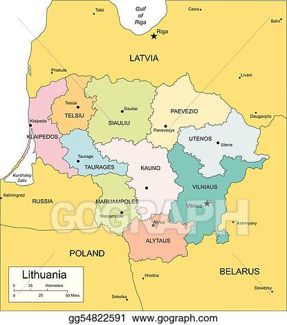 Clip Art Vector Lithuania with administrative districts and