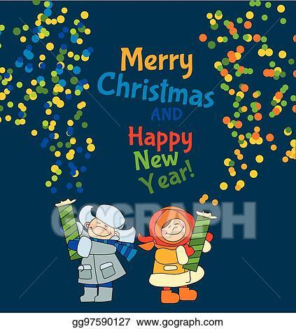 Christmas Celebration Cartoon Images.Vector Art Little Boy And Girl Shooting Firecracker Or