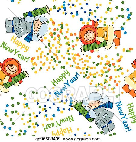clip art vector little boy and girl shooting firecracker or fireworks seamless pattern for fabric repeatable new year background adorable kids in