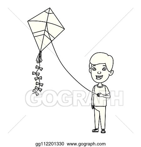 Vector Art Little Boy Flying Kite Clipart Drawing Gg112201330 Gograph
