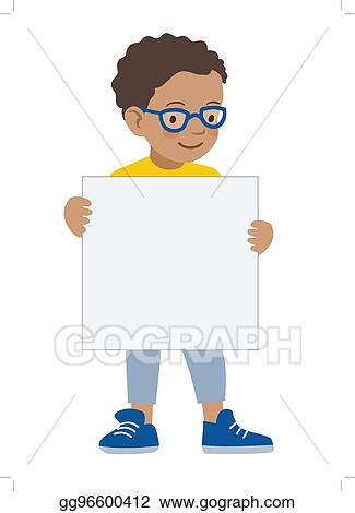 vector art little boy holding blank sigh template eps clipart