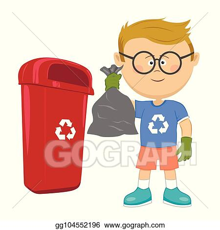 vector art little boy holding stinky trash bag and throwing it on