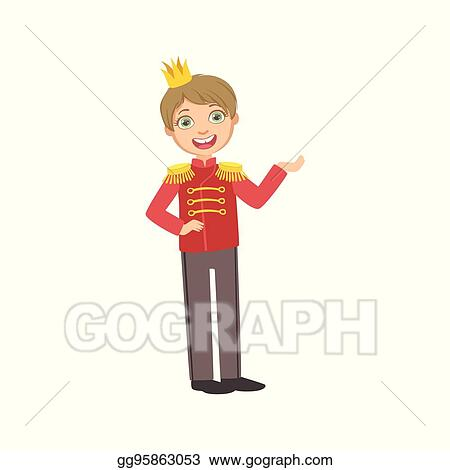 Little Boy In Red Military Jacket Dressed As Fairy Tale Prince