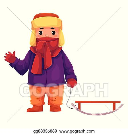 389e90fe610 Vector Art - Little boy in winter clothes pulling a sled. Clipart ...