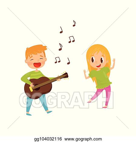 Vector Art Little Boy Playing Guitar And Singing Girl Dancing Cheerful Kids Having Fun Together Flat Vector Design Clipart Drawing Gg104032116 Gograph