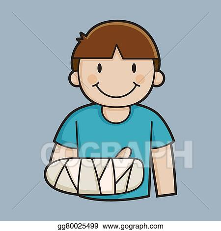 vector illustration little boy with a broken arm eps clipart rh gograph com person with a broken arm clipart Broken Arm Animated GIFs