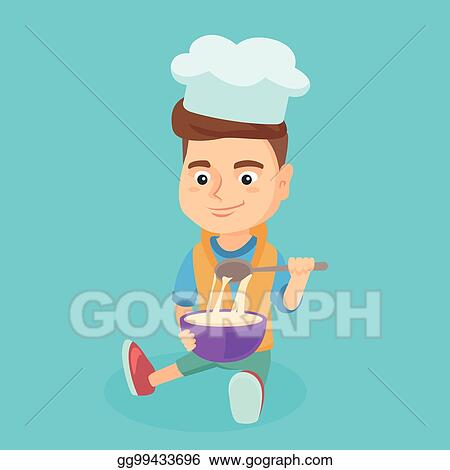 vector stock little caucasian boy in chef hat making the dough