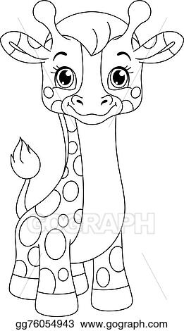 Vector Illustration - Little giraffe coloring page. Stock ...