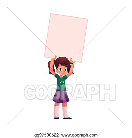 vector illustration little girl child kid holding blank empty
