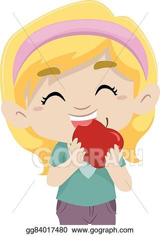 Vector Clipart Little Girl Eating Apple Vector