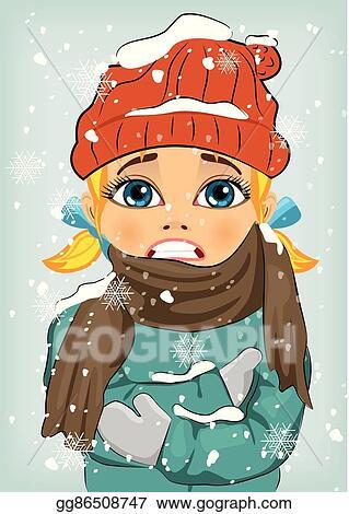 Winter freezing. Vector illustration little girl