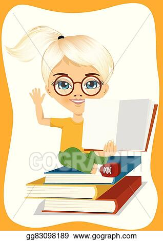 Kids Reading On The Big Stack Of Books Vector Flat Illustration... Royalty  Free Cliparts, Vectors, And Stock Illustration. Image 95042088.
