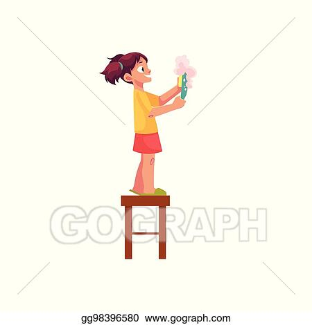 Groovy Vector Art Little Girl Washing A Plate Standing On Stool Caraccident5 Cool Chair Designs And Ideas Caraccident5Info