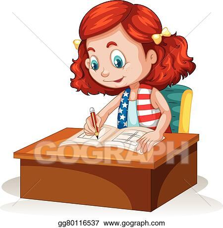 Vector Art Little Girl Writing On The Table Clipart Drawing Gg80116537 Gograph