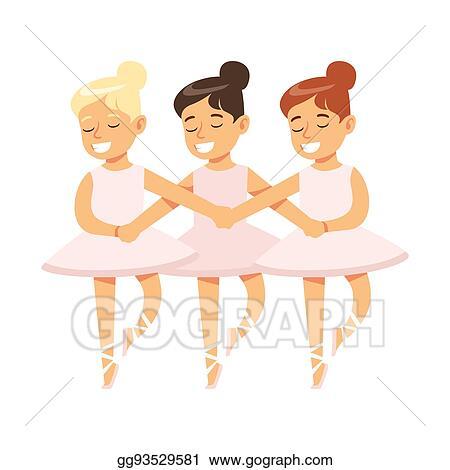 Vector Clipart Little Girls Dancing Swans Lake Ballet In Classic Dance Class Future Professional Ballerina Dancer Vector Illustration Gg93529581 Gograph