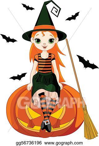 vector art little halloween witch on pumpkin clipart drawing