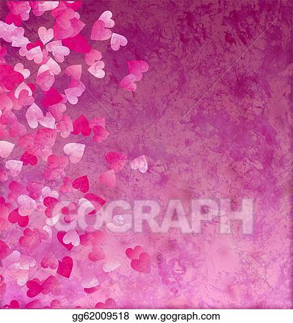 Little Hearts Side Grunge Vintage Paper Background
