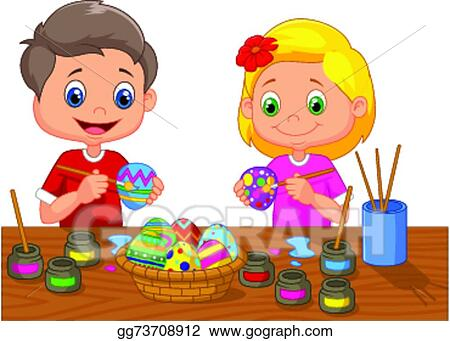 eps illustration vector illustration of little kids cartoon painting easter egg vector clipart gg73708912 - Cartoon Painting For Kids