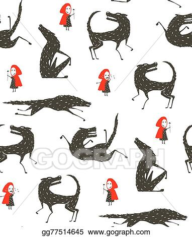 Vector Illustration Little Red Riding Hood And Black Wolf