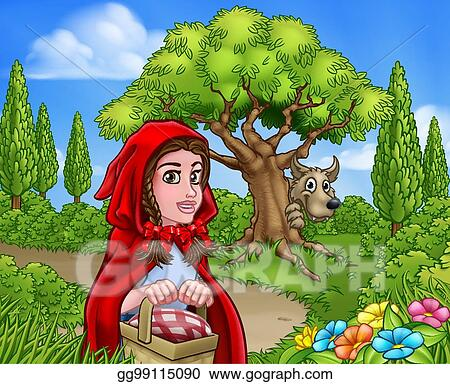 Vector Art Little Red Riding Hood And Wolf Scene Clipart