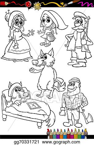 Vector Illustration - Little red riding hood coloring book. EPS ...
