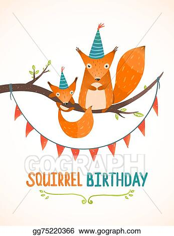 vector illustration little squirrel and mother birthday greeting